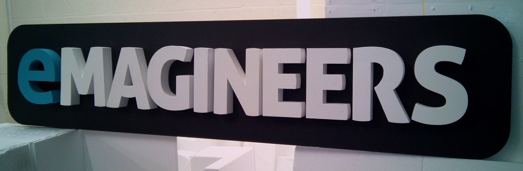 3d company sign painted styrofoam
