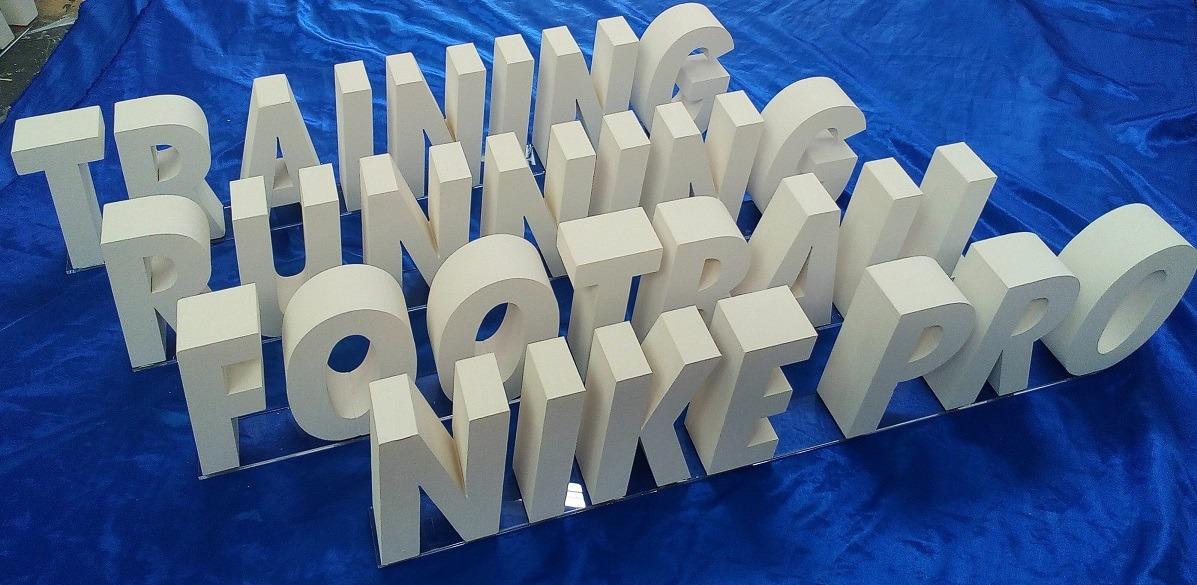 acrylic styrofoam retail lettering