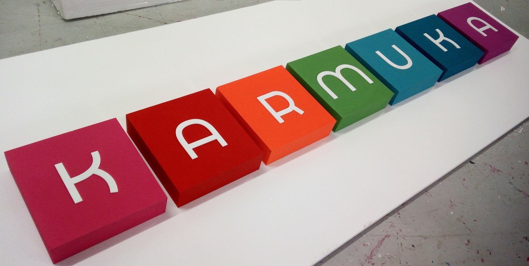 bright styrofoam logo blocks