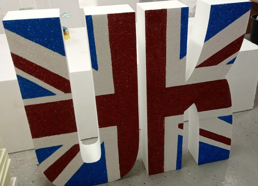 glittered union jack letters
