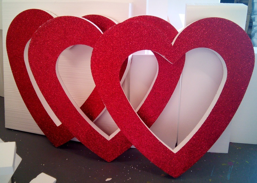 huge red glitter hearts