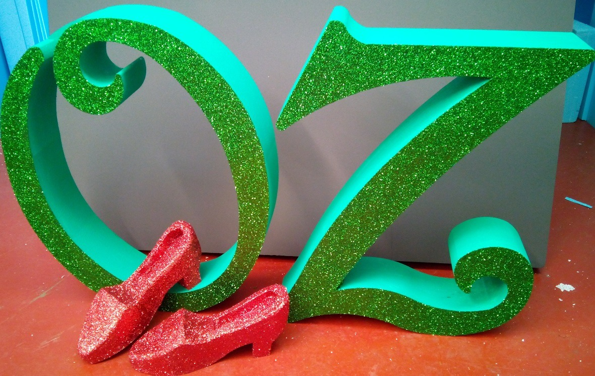 large glittered letters