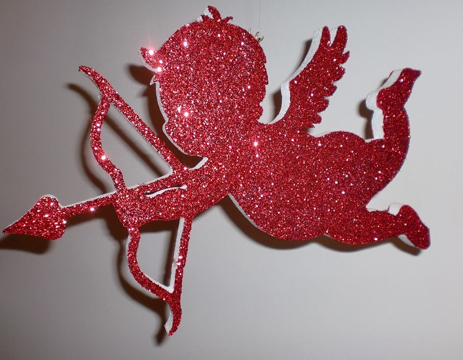 red glitter cupid