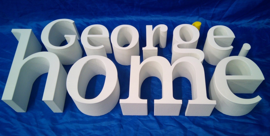 white acrylic faced logo